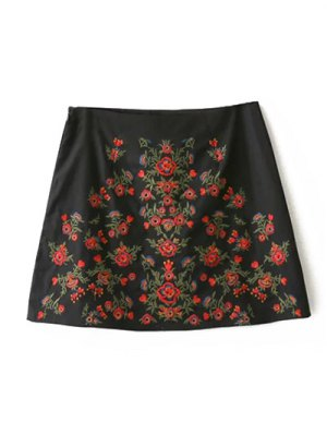 Embroidered A-Line Skirt - Black