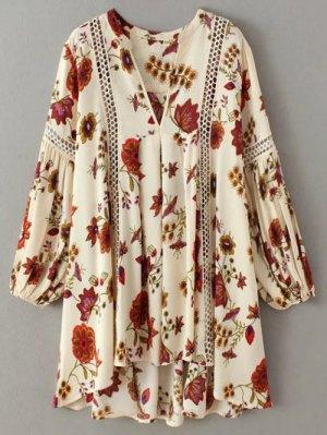 Floral High-Low Mini Tunic Dress - Beige