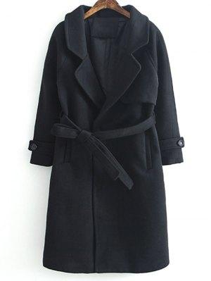 Woolen Lapel Collar Belted Coat - Black
