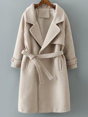 Woolen Lapel Collar Belted Coat - Khaki