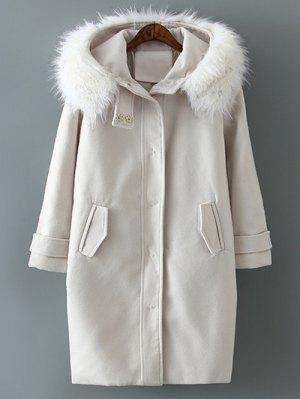 Fur Hooded Woolen Coat - Off-white