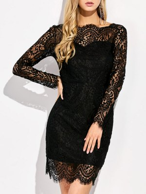 V Back Lace Dress With Sleeves - Black