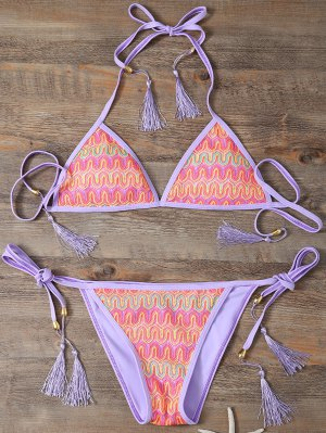 Halter Lace Patch String Bikini - Purple