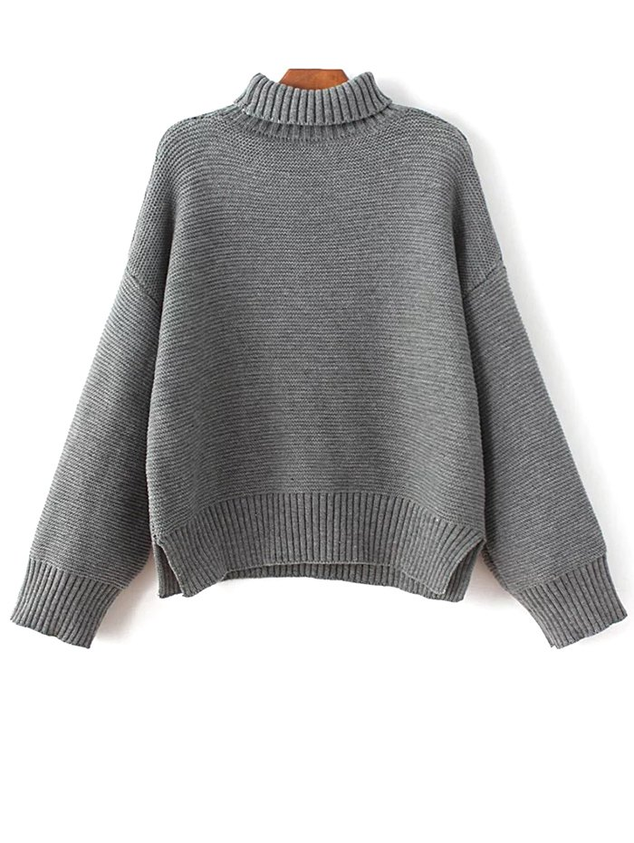 Turtleneck Drop Shoulder Oversized Sweater