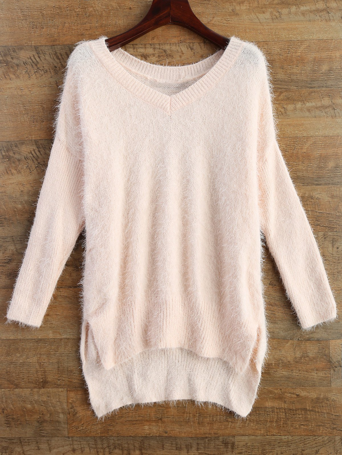 V Neck Fluffy Basic Sweater
