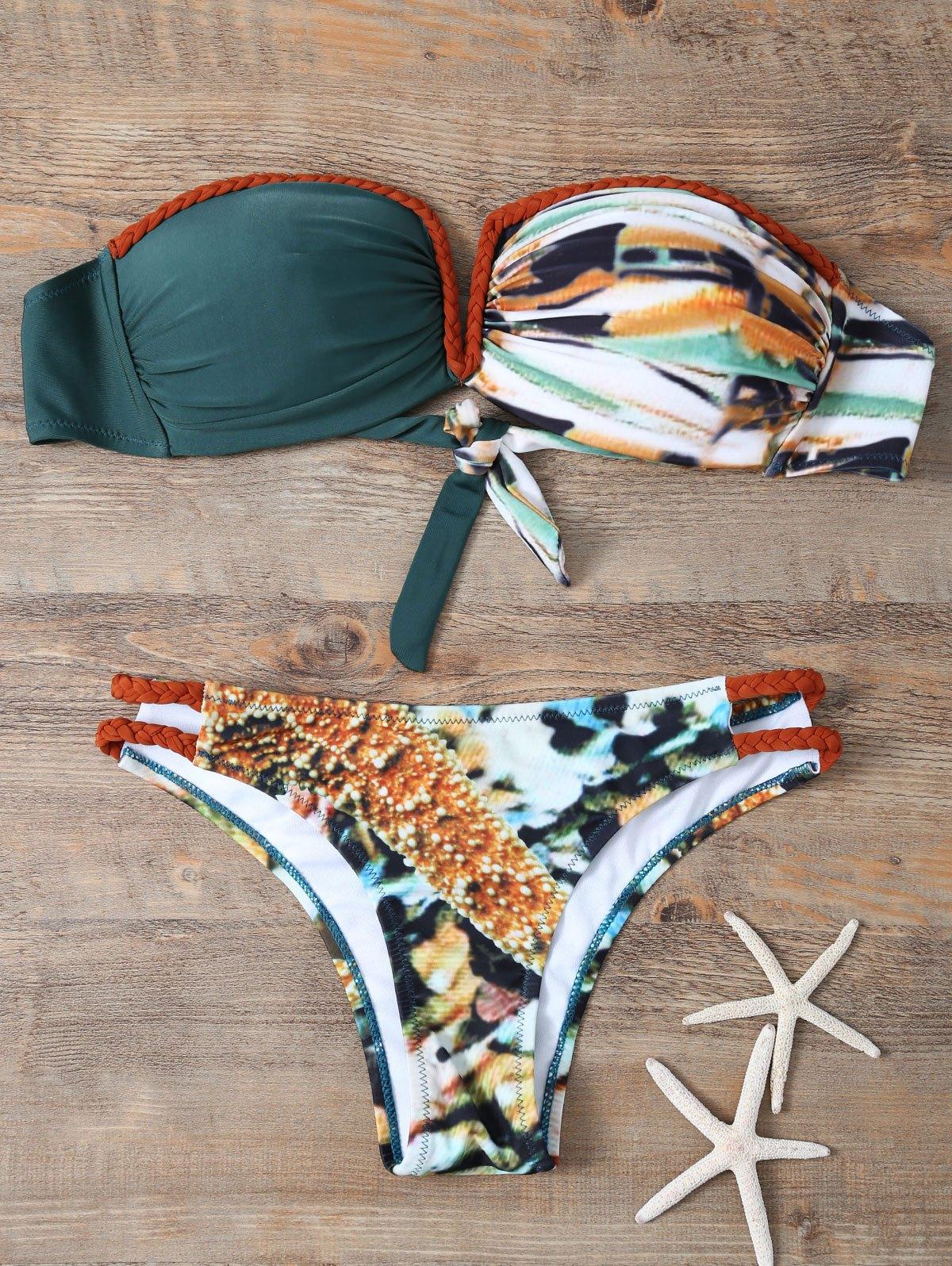 Strapless Braided Printed Bikini