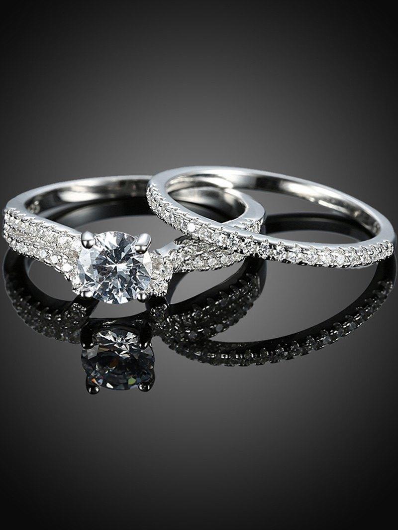 S925 Diamond Circle Ring Set