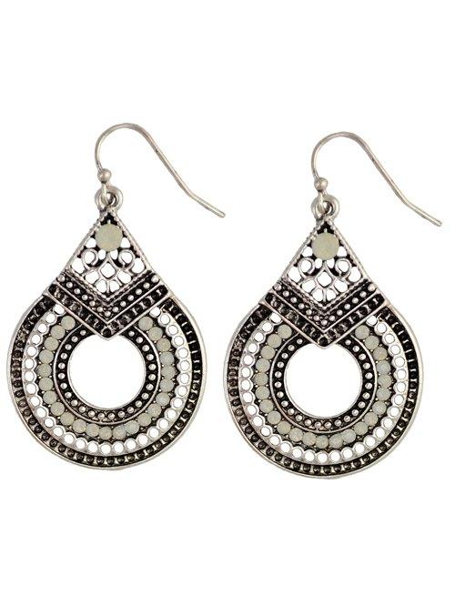 Rhinestoned Teardrop Earrings - SILVER