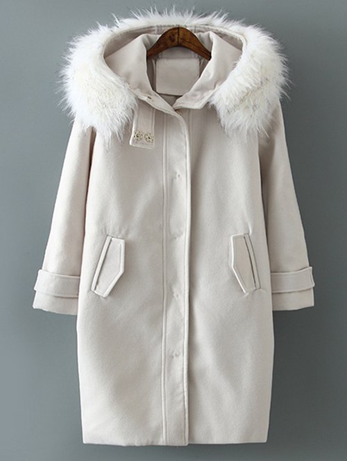 Fur Hooded Collar Woolen Coat