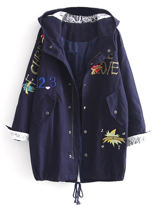 Letter Embroidered Hooded Sequins Coat