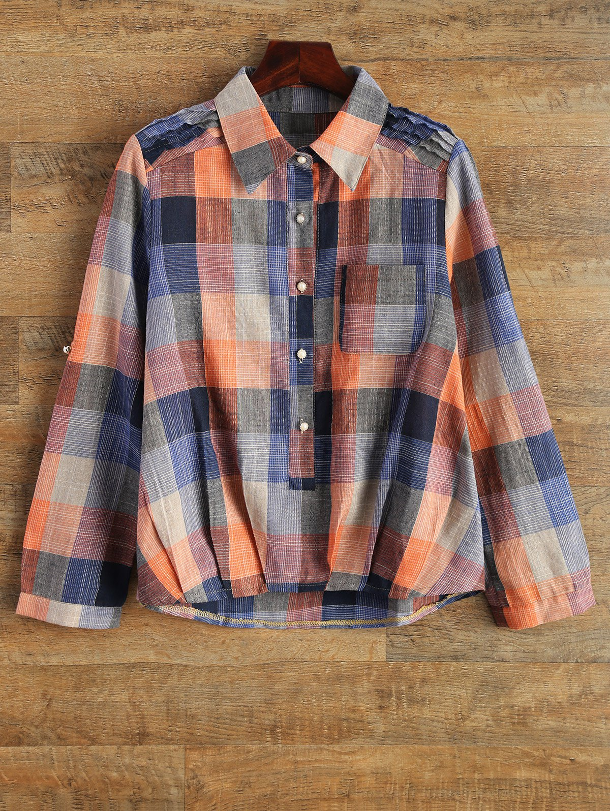 Shirt Neck Checked Pocket Shirt