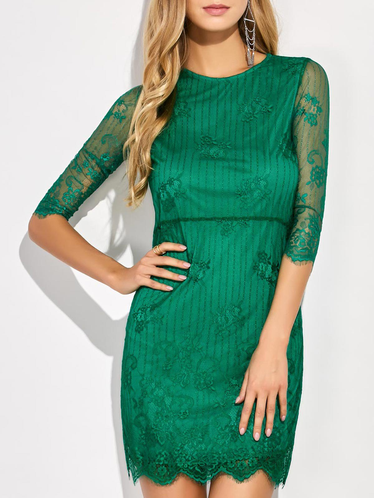 Scalloped Mini Floral Lace DressClothes<br><br><br>Size: L<br>Color: GREEN