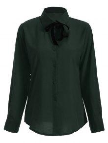 Bowknot Long Sleeve Button Up Shirt