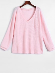 Long Sleeve V Neck Jumper - Pink S