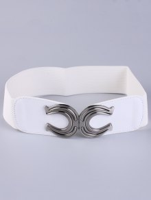 Buy X Shape Buckle Elastic Belt WHITE