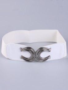 Buy X Shape Buckle Elastic Belt - WHITE