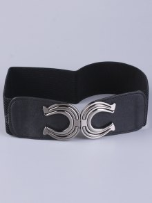 Buy X Shape Buckle Elastic Belt BLACK