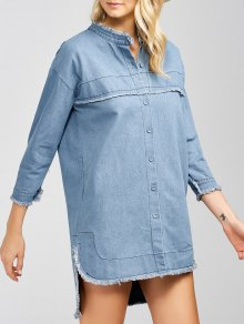 High-Low Denim Dress - Light Blue 2xl