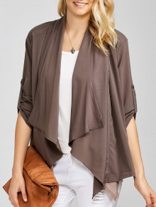 Casual Asymmetric Duster Coat - Brown