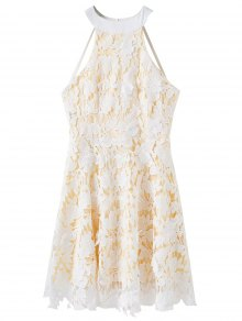 Floral Applique Lace Skater Dress - White S