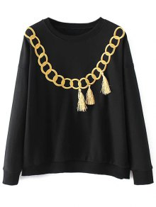Embroidered Fringed Sweatshirt - Black