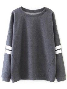 Striped Sports Sweatshirt - Gray M