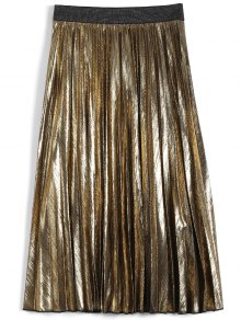Metallic Color Pleated Tea Length Skirt