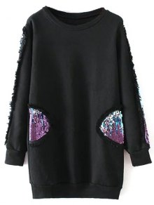 Sequins Crew Neck Long Sweatshirt
