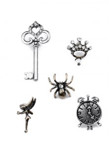 Spider Key Crown Clock Elf Brooch Set