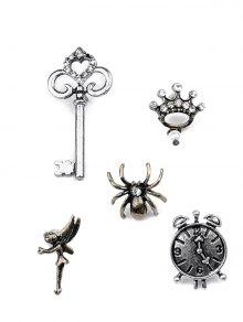 العنكبوت، المفتاح، التاج، ساعة الحائط، قزم، بروش، سيت - فضة