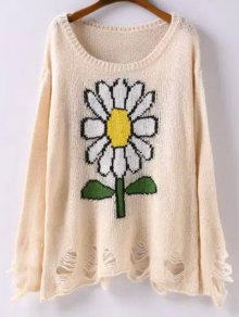 Scoop Neck Sunflower Jacquard Ripped Sweater - Apricot L