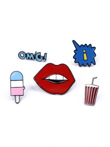 Beverage Lip Letters Brooch Set