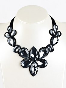 Water Drop Faux Crystal Ribbon Necklace - Black