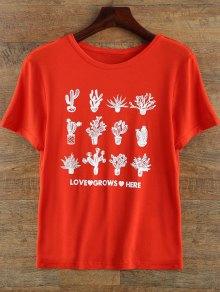 T-shirt à Manches Courtes Et à Col Rond En Motif à Plantes - Rouge Xl