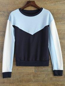 Leisure Color Block Sweatshirt - Blue L