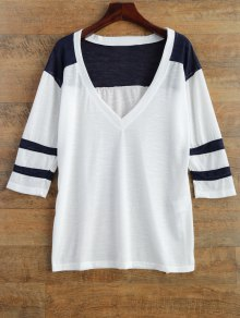 V Neck Color Block Tee - White M