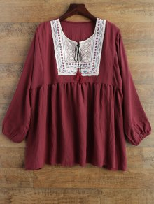 Tunic Baggy Blouse - Wine Red Xl