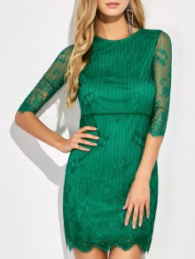 Vestido De Encaje Floral Mini Festoneado - Verde