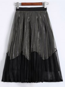 Pleated Color Block Tea Length Skirt