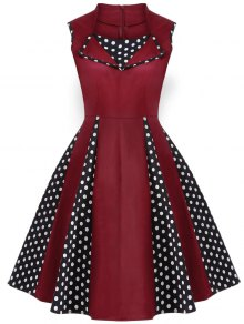 Vintage Sleeveless Polka Dot Dress - Burgundy S