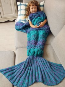 Kids Sleeping Bag Knitted Mermaid Blanket - Blue