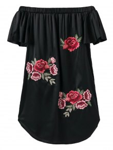 Off The Shoulder Floral Mini Dress - Black M