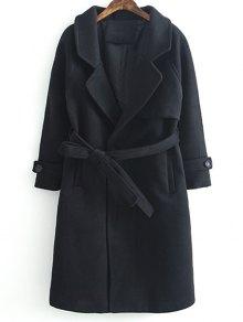 Woolen Lapel Collar Belted Coat