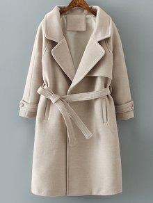 Woolen Lapel Collar Belted Coat - Khaki M