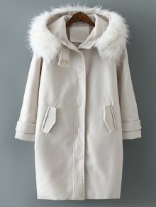 Fur Hooded Woolen Coat - Off-white M
