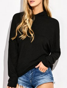 High Neck Batwing Sleeve Jumper - Black M