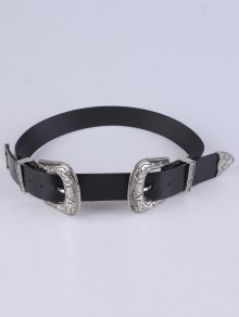 PU Double Pin Buckle Belt - Silver