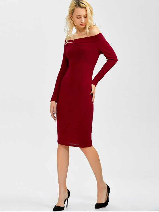 Off Shoulder Bodycon Long Sleeve Dress - WINE RED S Mobile