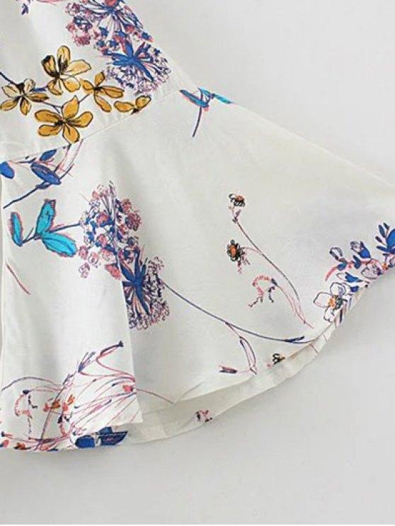 Off Shoulder Flare Sleeve Floral Blouse - WHITE L Mobile