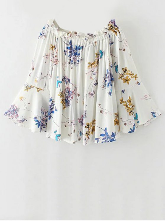 Off Shoulder Flare Sleeve Floral Blouse - WHITE S Mobile